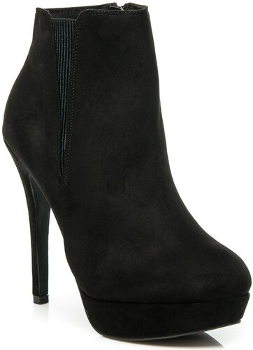 Elegantní černé semišové kotníkové boty na jehlovém podpatku a platform 88fdfaa1b1