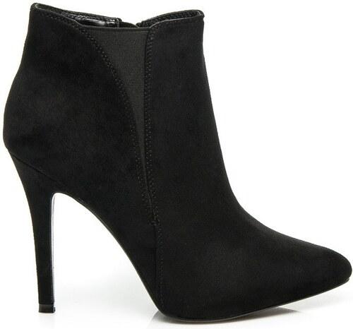 Klasické černé semišové kotníčkové boty na jehlovém podpatku - Glami.cz f715ddb5f8