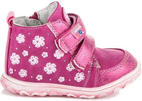 Dívčí růžové kotníkové boty s květinkami - Glami.cz 54ecea4a85f