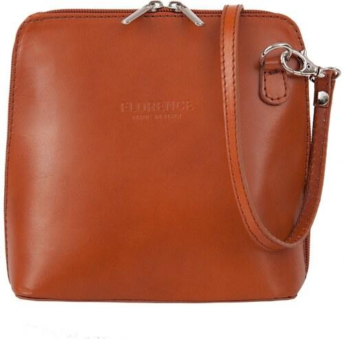 Dámská malá kožená kabelka Vera Pelle styl crossbody rudý kamel ... 78e465e39d3