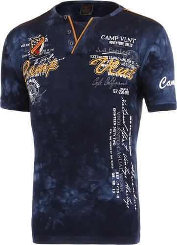 46411ecfeaff YooY Pánské batikované tričko s nápisem (tmavě modrá