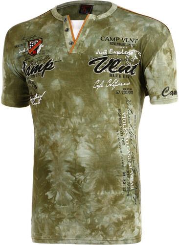 464bc41be72e YooY Pánské batikované tričko s nápisem (tmavě zelená