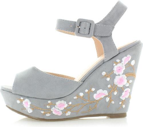 8a88d0db8bd3 Bestelle Sivé platformové sandále Embroidery - Glami.sk