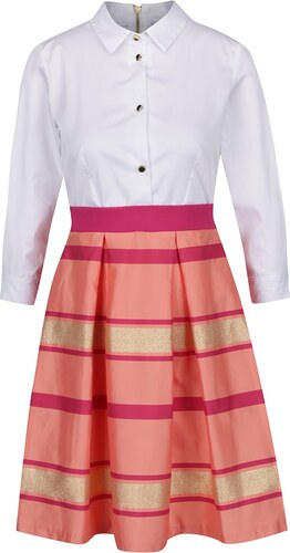 a0a983a8a16 Růžovo-bílé šaty s pruhovanou sukní a košilovým topem Closet - Glami.cz