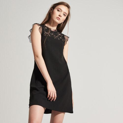 House - Šifónové šaty s ozdobnou čipkou - Čierna - Glami.sk 122e1177fe