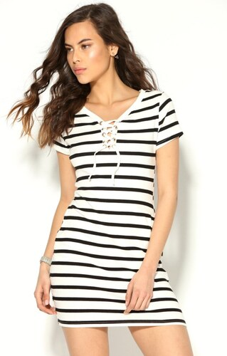 Venca Krátké pruhované šaty se šněrováním bílé proužky černá - Glami.cz 0a76cb3ce6
