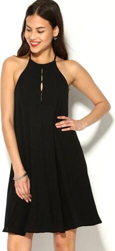 88f67d12cd VENCA Rozšírené šaty s výstrihom ku krku a prestrihom vzadu čierna ...