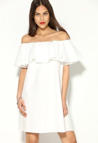 VENCA Rozšírené šaty s krátkymi rukávmi a volánom biela - Glami.sk 36fc2598732