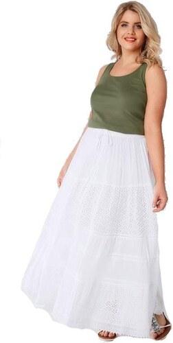 fc334fa3e0d3 YOURS Biela nariasená bavlnená maxi sukne so šľahačkovou čipkou ...