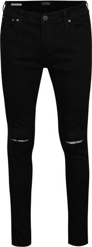 Černé džíny s dírami na kolenou Jack   Jones Liam - Glami.cz 1119005248