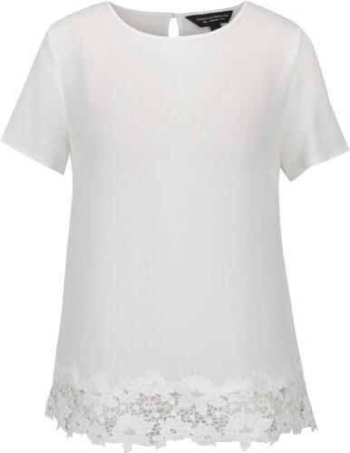 8cefe1c0f642 Biela blúzka s kvetovaným čipkovým lemom Dorothy Perkins - Glami.sk