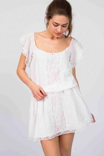 Dámské šaty krátké krajkové se spodničkou krátký rukáv s áčkovou sukní bílé  Guess 51dc8b097d
