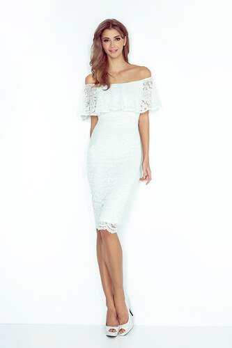 MORIMIA Biele čipkované púzdrové šaty s volánom HISPANSKA MM013-1 ... e9220aac6fa