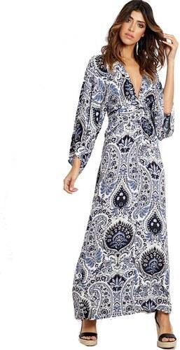 2e13dc1744 BLUE VANILLA Jessika-modré maxi šaty v štýle kimona potlačené ornamenty