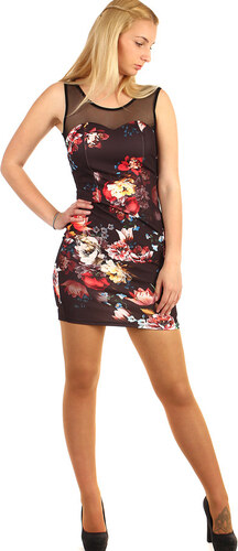 YooY Mini šaty s květinovým vzorem (černá 9ee6a79c25f