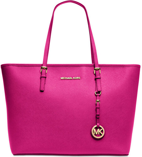 d9742280e4 Růžová kožená kabelka Michael Kors jet set top zip raspberry gold ...