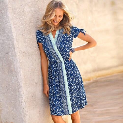 abe95d366ab3 Blancheporte Šaty s překřížením a kašmírovým vzorem indigo bílá ...