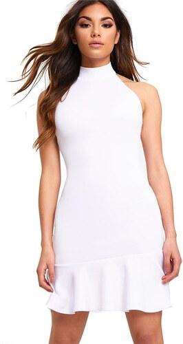 2e5d66761ade PRETTYLITTLETHING Biele šaty s vysokým výstrihom a manžetou okolo krku