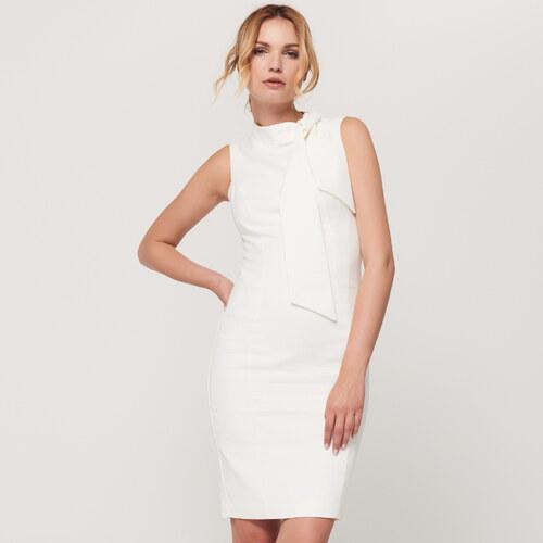 7d6d7b5b2f9a Mohito - Elegantné puzdrové šaty s viazačkou - Biela - Glami.sk