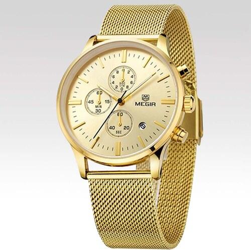 d0732dad505 Megir Pánské hodinky Strap zlaté - Glami.sk