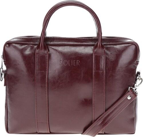 Vínová pánska lesklá kožená taška na notebook Solier - Glami.sk 257fb2b0a53