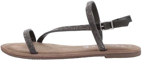 31e156fb6e23 Tmavosivé kožené sandále s kamienkami v striebornej farbe Tamaris ...