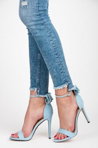 164422881e56 Ideal Shoes Semišové modré lodičky s mašlou - Glami.sk