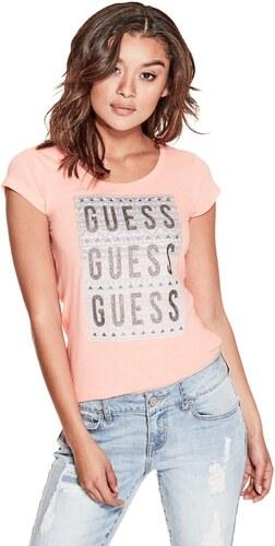 GUESS tričko Hana Glitter Logo Tee oranžové 6d96dfe6ee9