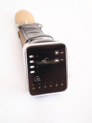 HGM Binarni hodinky led s koženým černým páskem Oulm Geneva - Glami.cz c6eb4932ee