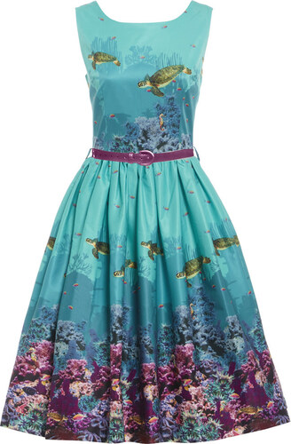 9e44a411479d LINDY BOP Dámské retro šaty Annie Korálový útes - Glami.cz