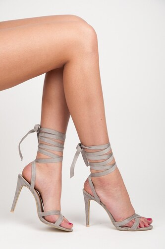 bf0fc40fd1e1 -42% VCS new collection Semišové šedé lodičky sandále s vysokým viazaním