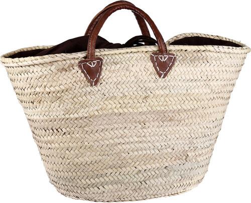26f7da7aa Košík z palmové slámy Kbas natural s podšívkou a koženými ručkami 087234