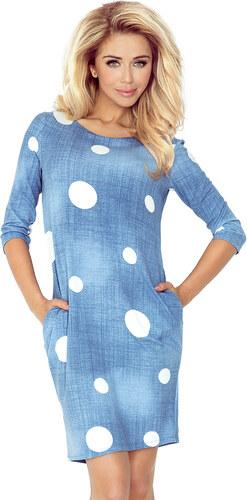 numoco Džínově modré šaty s kapsami a bílými kolečky 40-11 - Glami.cz 7c9eaa6b09