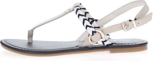 3971b22211de Modro-krémové dámske kožené sandále Tommy Hilfiger - Glami.sk