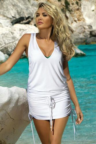 529445bd15d9 Etna Biele plážové šaty Nicola - Glami.sk