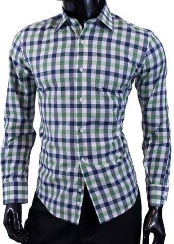632b35277e9d Ego-Man Károvaná pánska košeľa v zelenej farbe - Glami.sk