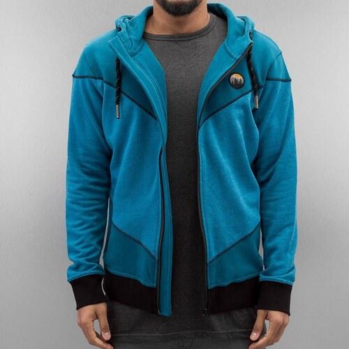 Just Rhyse Modrá volnočasová mikina Casian pro muže na zip a s kapucí 1b65535a5b