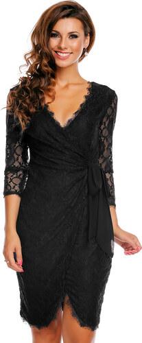 Společenské a plesové šaty MAYAADI krajkové falešně zavinovací černé ... 2b3e0ac1dd