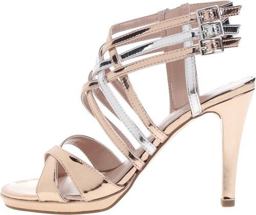 21b7e61751c6 Remienkové sandále na podpätku v strieborno-zlatej farbe Tamaris ...