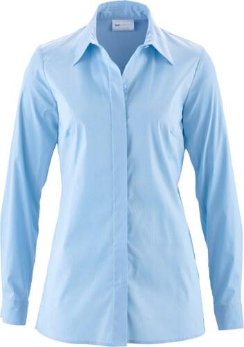 bpc selection bonprix chemisier long extensible bleu manches longues pour femme. Black Bedroom Furniture Sets. Home Design Ideas