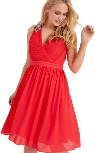 LITTLE MISTRESS Červené šifónové šaty s brošňou - Glami.sk 7d2cc17058