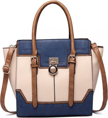 Lulu Bags (Anglie) Tříbarevná kabelka s visacím zámkem Miss Lulu modrá b48fd5735f