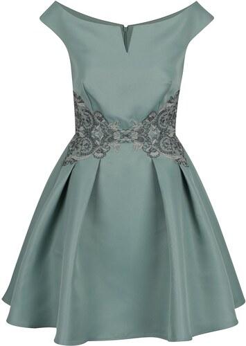 cab15aff7d5f Svetlozelené šaty s lodičkovým výstrihom a čipkovaným zdobením Little  Mistress