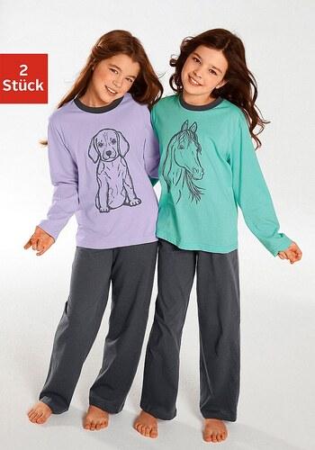 Pyjama (2 Stück), Oberteile in schönen Farben mit Tierdruck