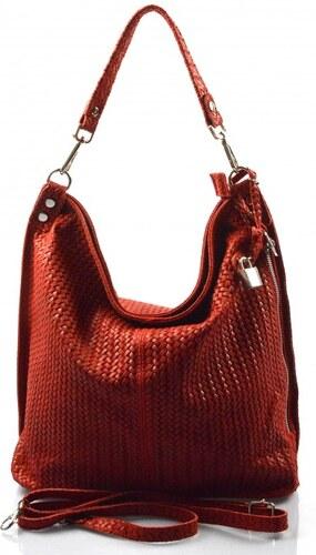 -15% -14% Kožená velká červená bordó crossbody kabelka na rameno Justin VERA  PELLE 26014 fa4b93dc454