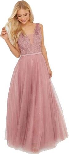 be271b8c7452 LITTLE MISTRESS Ružové maxi šaty s kvetinovým detailom - Glami.sk