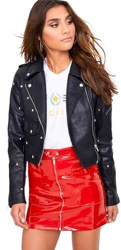 PRETTYLITTLETHING Čierna biker bunda s ozdobnými cvočkami - Glami.sk ac172546cf0
