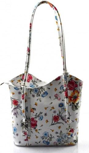 424025ed4a Kožená luxusní květinová bílá crossbody kabelka Royal flower VERA PELLE  26009