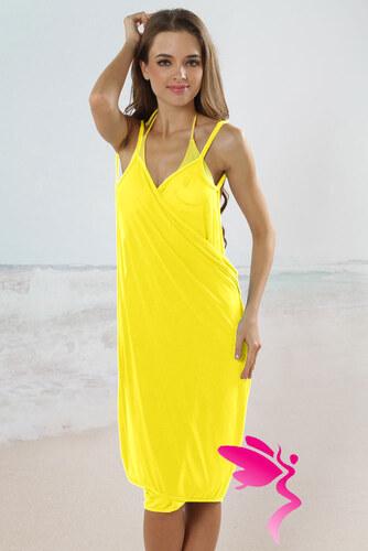 LM moda Plážové zavinovací šaty jednobarevné žluté - Glami.cz 1e1e001428