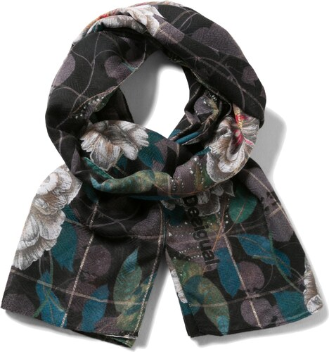 Desigual černý šátek Rectangle Troy - Glami.cz 00f31d2e18a